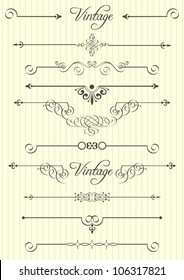 Vector calligraphic design elements and page decor