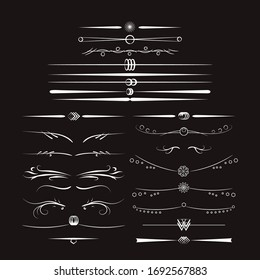 Vector Calligraphic design elements set. Retro line art web template on black background. Page divider vector. Collection of many hand drawn design elements.