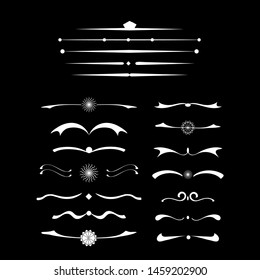 Vector Calligraphic design set. Retro line art web template. White elements on black background. Page divider vector. Collection of many hand drawn design elements.
