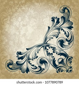 Vector calligraphic element on vintage background. Engraving, a pattern in the Baroque style. You can use to decorate menus, posters, invitations, wallpapers, tiles.Corner.
