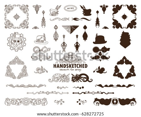Vectorigraphic Elements For Design Steampunk Collection Of Triangle Corner Line Divider