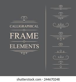Vector calligraphic frame elements. Decorative elements. Eps10