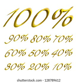 vector Calligraphic gold Percents templates for sale 100%, 90%, 80%, 70%, 60%,  50%, 40%, 30%, 20%, 10%