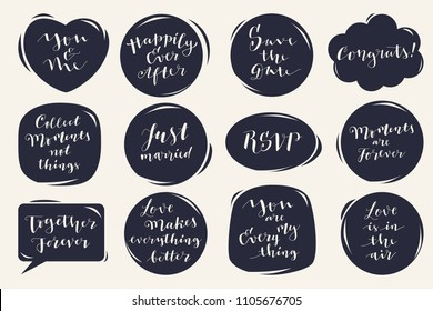 Vector calligraphic hand lettered set of Wedding and Valentine's day phrases, quotes and wishes in speech bubbles and hand drawn stickers. Trendy monochrome holiday illustration