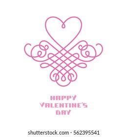 Vector calligraphic heart. Monogram design template. Greeting card Valentine's day. Original illustration for print, web