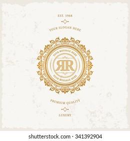 Vector calligraphic logo template. Luxury retro monogram. Vintage monogram.