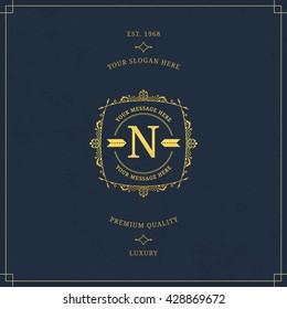 Vector calligraphic logo template. Luxury retro label. Vintage monogram.