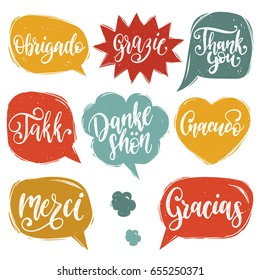 Vector calligraphic set of different languages translation of Thank You phrase. Hand lettering of international thankfulness word.