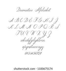 Vector Calligraphy Alphabet. Exclusive Letters. Decorative handwritten brush font for: Wedding Monogram, Logo, Invitation. Wedding font isolated on white background