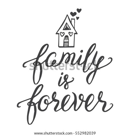 vector calligraphy family forever hand brush stock vector royalty