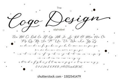Vector calligraphy font. Handwritten lettering alphabet for postcard, greeting card, wedding invitation