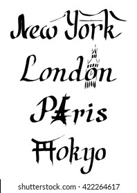 Vector calligraphy lettering New York, London, Paris, Tokyo. Brooklyn bridge, Eiffel tower, Big Ben, Torii gate. Hand drawn with pen by ink. Symbol of USA, Great Britain, France, Japan. Travel poster.