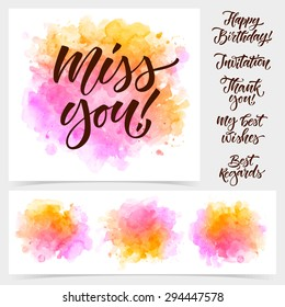 I miss you images stock photos vectors shutterstock vector calligraphy on watercolor stain background miss you poster or card for design invitation m4hsunfo