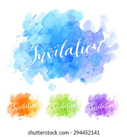 Vector calligraphy on watercolor stain background. Template for poster or card, invitation and greeting design. Typography collection
