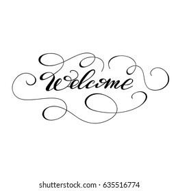 """Vector calligraphy word """"Welcome"""" with monograms."""