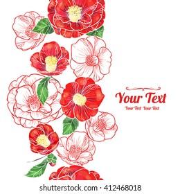 Vector camellia flowers vertical frame pattern background . Invitation or greeting card design.Vector illustration