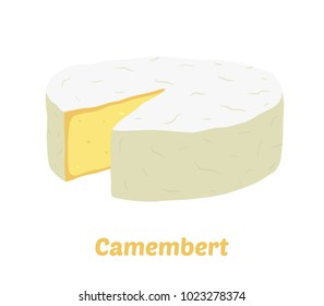 Vector camembert cheese block. Slice, chunk in cartoon flat style. Farm market product for label, poster, icon, packaging. Dairy product