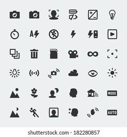 Vector camera functions mini icons set