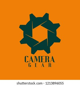 Vector camera gear with lens and gear for design logo template. You can make logo, icon, symbol for brand identity. Logo worker photography, photograper, studio photo, service camera,  and  etc.