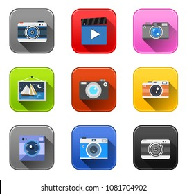 vector camera icons - photo video and photography equipment - media and multimedia illustrations technology