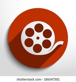Vector camera web icon in circle, flat design