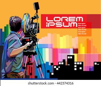 Vector cameraman in action