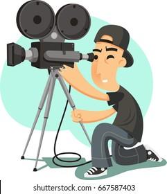 Vector cameraman filming vector cartoon illustration