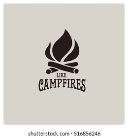vector campfire vintage logos with flaming fire