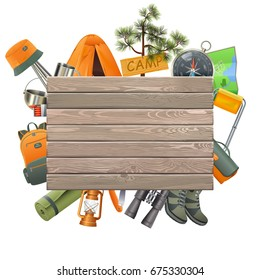 Vector Camping Concept with Wooden Plank