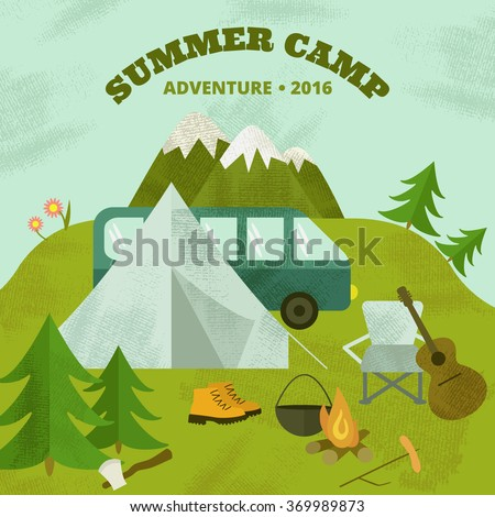 9d1a6c79f6 Vector Camping Template Layout Concept Includes Stock Vector ...