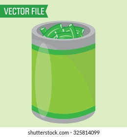 Vector Can of Green Beans
