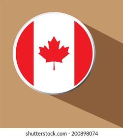 Vector - Canada flag button icon with long shadow