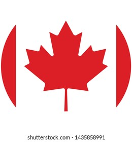 Vector - Canada Flag Button on white circular background