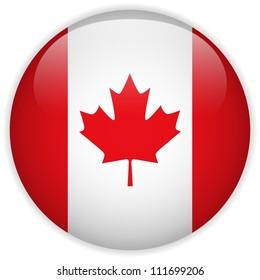 Vector - Canada Flag Glossy Button