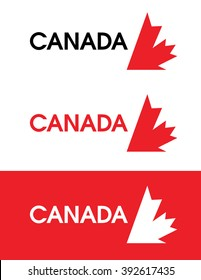 Vector Canada leaf emblem set in colour and reverse