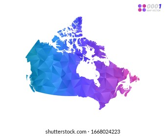 Vector Canada map colorful polygon triangle mosaic with white background. style gradient.