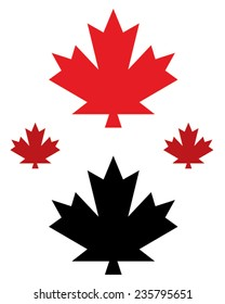 Vector Canadian maple leaf icon set