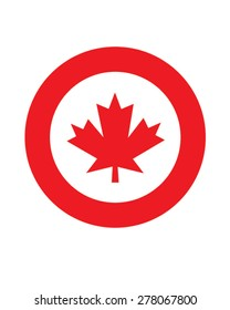 Vector Canadian maple leaf roundel icon representing Canada as well as the Canadian Military