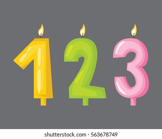Vector candle birthday numbers with fire.