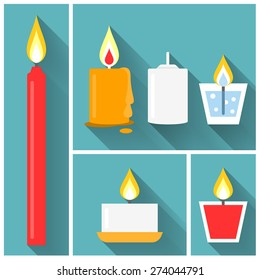 Vector candle in flat style