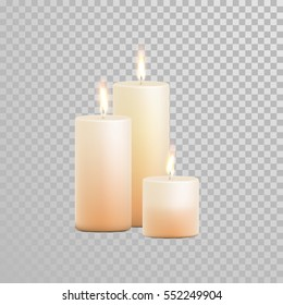 Vector candles with burning flames of beige wax paraffin on transparent background. Wedding decoration white or beige element design
