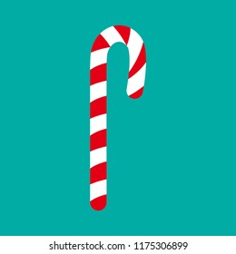 Vector candy cane. Candy cane icon. Christmas symbol. Stripped candy cane.