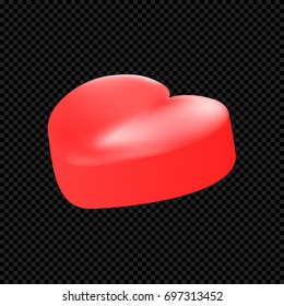 Vector candy heart isolated on transparent background. Vector illustration of a 3D red heart. Use for Valentine's Day, love story, medical sign and more.