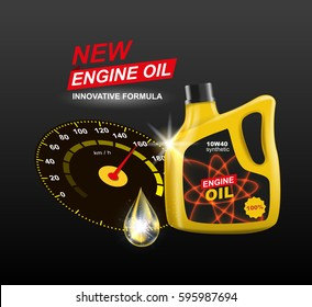 Vector canister engine oil with speedometer advertising template