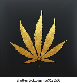 Vector cannabis leaf illustration - golden glitter foil plant silhouette isolated on black, medical marijuana indica sort.
