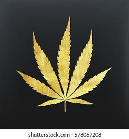 Vector cannabis leaf illustration - golden glitter foil plant silhouette isolated on black, medical marijuana indica sort.