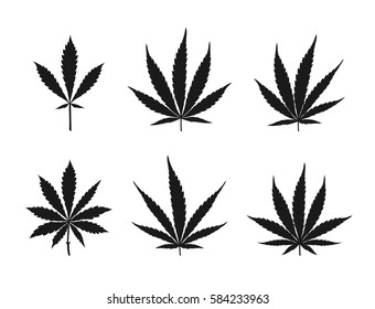 Vector cannabis leaves set - black plant isolated on white, medical and farm marijuana silhouettes.