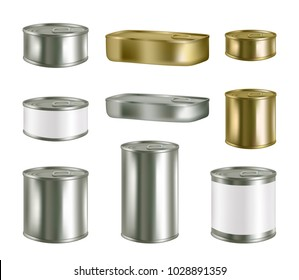 Vector canned food realistic package mockup set isolated on white background. Metal tin can preserve conserve blank templates.