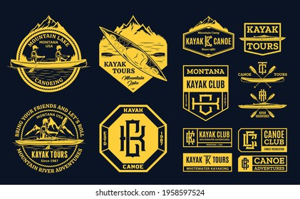 Vector canoe and kayak logo, badges and design elements. Water sport, recreation, canoeing and kayaking illustrations