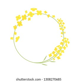 Vector canola flowers frame illustration